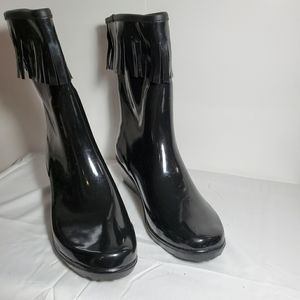 Forever Young Black Rainboots Sz 9